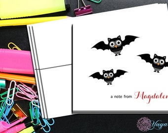 Halloween Personalized owl Note Card / Custom baby owl bat Stationery / Halloween Stationery Set / Custom Thank You Cards / Set of 12 Notes