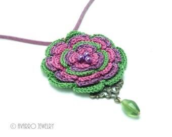 Crochet Flower Jewelry, Crocheted Beaded Pendant Necklace, Purple Green Flower Necklace, Floral Necklace, Statement Necklace, Boho Jewelry