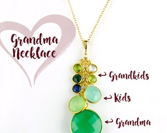 Custom Birthstone Necklace for Grandma, Christmas gift for grandmother with grandkids birthstones, Personalized Grandma Necklace, Gifts