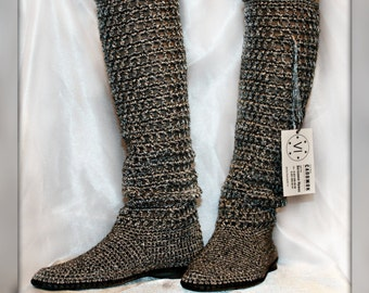 Summer crochet boots Hand knitted for adult Crocheted Outdoor Summer Wedge Boots, Hippie Folk Tribal Made to Order Women Fashion Boots