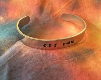Cat Mom Bracelet - Hand Stamped Bracelet
