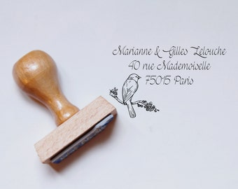 Lovely Bird customized address Rubber stamp