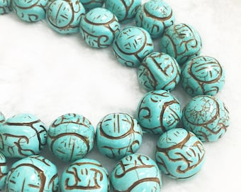 Turquoise Carving Round 18mm.R-S-TUR-0415