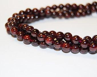 Genuine Natural  Garnet Gemstone Smooth Loose Beads Size 2mm/3~3.5mm/4~4.5mm/5.5~6mm/7~7.5mm/8mm/10mm/12mm.R-S-GAR-0105