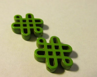 Carved Lime Green Magnesite Chinese Knot Bead, 20mm, Set of 2