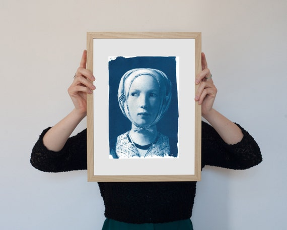 Girl from De La Tour Painting, Cyanotype Print on Watercolor Paper, A4 size