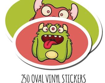 Bulk Custom Vinyl Stickers- 250 Custom Stickers- Vinyl Oval Stickers - Waterproof