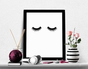 Eyelashes Print, Makeup Art Print, Fashion Print, Beauty Print, Chic Bedroom Wall Decor, Eyelashes, Lashes, Chic Print,  Digital Print