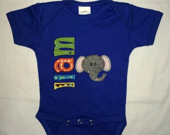 Custom appliqued elephant bodysuit