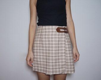 Mini A-Line Check Skirt