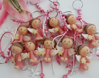 Keychain favors for baptism, first communion favors, cold porcelain favors, favors baptism,