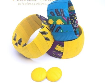Yellow Dashiki Bangle Jewelry Set Dashiki Earrings Set Blue dashiki fabric Retro African Fabric Covered Bangle Yellow Dashiki Bangles Summer