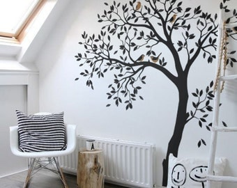 Large tree and birds wall decal for nursery Vinyl Sticker Decor Kids Art Removable Birch Stickers Forest Decals Baby Room Mural Bird  AM018