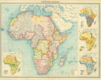 Old map of australia new zealand and tasmania printable africa map printntage africa political map printable digital downloadntage world map gumiabroncs Image collections