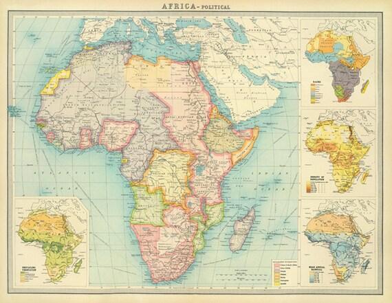 Africa map printVintage Africa Political map printable digital