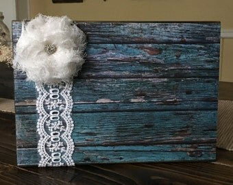 Rustic Wood Block Picture Frame- Shabby Chic Frame-Barnwood Block Frame-Teal Photo Block-5x7 picture frame