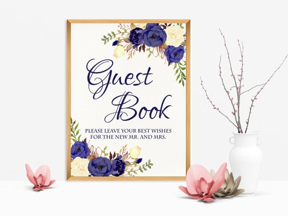 guest book sign please sign our guest book navy blue printable. Black Bedroom Furniture Sets. Home Design Ideas