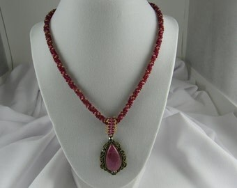 Irridescent Pink Beaded Kumihimo Necklace with Pink Teardrop Pendant