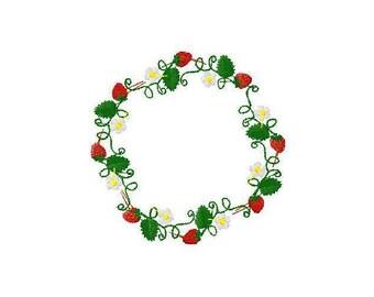 Machine embroidery design Strawberry wreath Strawberries