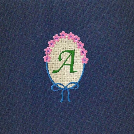 Machine embroidery monogram fonts floral frame applique