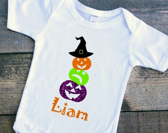 Toddler baby girl boy pumpkins and a witch's hat Halloween bodysuit tshirt shirt