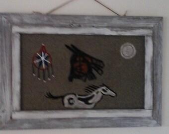 Original acrylic native American rug  painting barnwood frame