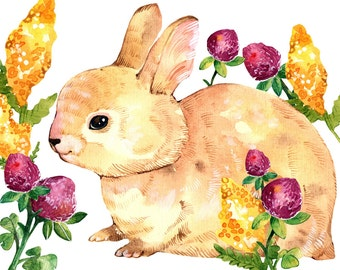 Rabbit Print Art Bunny Watercolor Print Rabbit Nursery Decor Bunny Nursery Art Summer Flower Watercolor