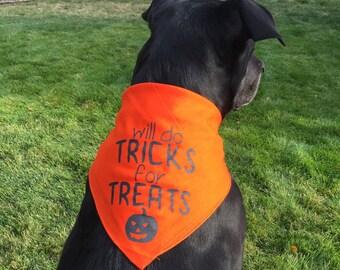 Halloween Dog Bandana Costume - Will do tricks for treats