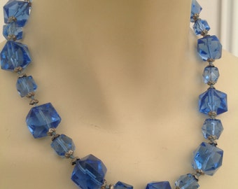Beautiful 1930s glass bead necklace in blue faceted glass Art Deco flapper vintage