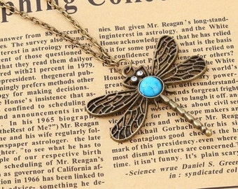 Necklace bronze pendant with Dragonfly-shaped decorated with blue cabochon and crystals