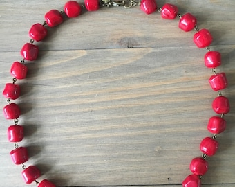 Dark red coral nuggets short necklace