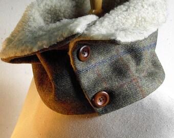 Tweed Scarf/Cowl/Neckwarmer with Sherpa fleece lining