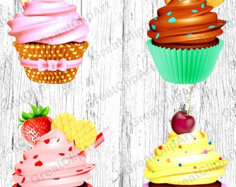 4 Cupcake clipart, food clipart set, cake clipart set, digital cake, scrapbooking clipart, dessert clipart, colorful cupcakes, digital food