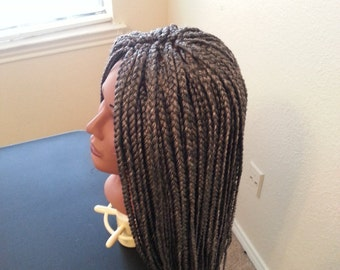 Box braided wig,medium,braids,handmade,synthetic,parting,single plait,cap adjustable,custom request and color accepted