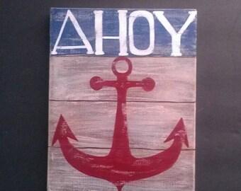 Nautical Wall Plaque Anchor Sign Hand Painted Ahoy Coastal Home Decor