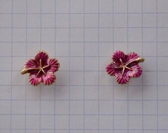 Vintage 1990s Hawaiian Hibiscus Flower Purple Pink Enamel Gold Earrings