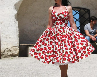 Pinup dress 'Orchard dress in Strawberry Summer', strawberry rockabilly dress, spectacular 50s dress
