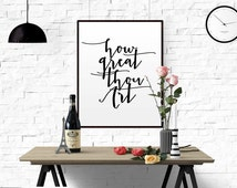 "CHRISTIAN QUOTE NURSERY ""How Great Thou Art"" Printable Instant Download Printable nursery decor grey home decor christian quote office decor"