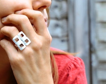 Modern Little Squares Silver Ring
