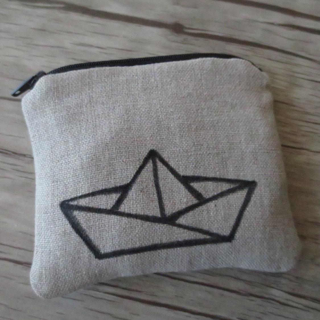 COIN Purse PAPER BOAT Linen Origami Boat by BlackInkAndFabrics - photo#38