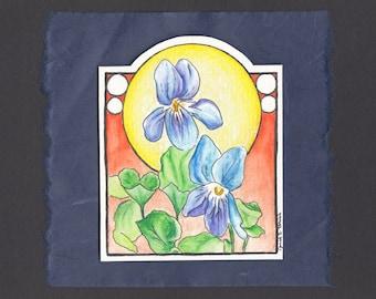 Original Hand Painted Watercolor Greeting Card - Irises