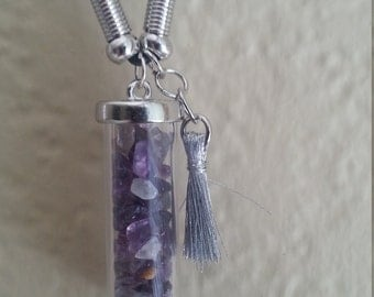 Aromatherapy Amethyst with Silver Fringe 9'' Necklace