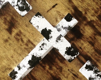 Black & white hand painted wooden crosses