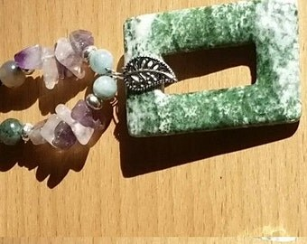 Moss Agate and crystal necklace