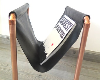 Leather + Copper Magazine Rack [Black]
