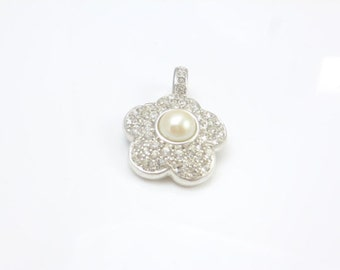 Pearl Enhancer, Mabe Pendant, Crystal Necklace Pendant, Enhancer, Necklace Enhancer, vintage