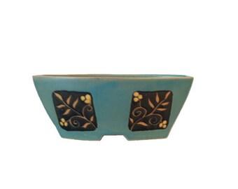 Vintage Pottery Vase Polseno Aqua Blue BlackHand Made Hand Painted Vase Turquoise Home Decor Colletible Gift Idea