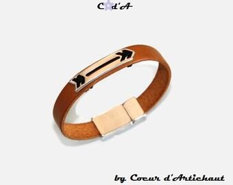 Bracelet leather Boho Camel man