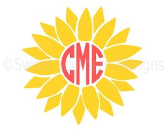 Sunflower monogram SVG instant download design for cricut or silhouette