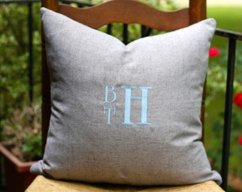 Monogrammed Linen Pillow Cover - Little Boy Pillow - Stacked Monogram Pillow